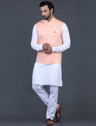 Orange solid waistcoat set in linen