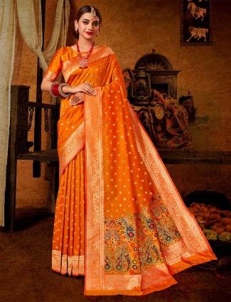 Orange wedding wear banarasi silk saree