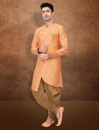 Orange wedding wear raw silk semi indo western