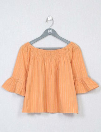 Oranged striped casual top for women