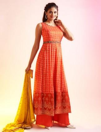 Ornate orange punjabi style festive wear salwar suit