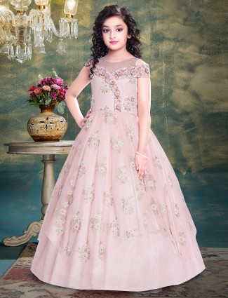 Party style net gown in pink tint