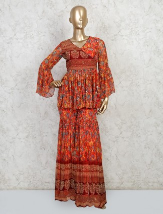 Party wear cotton printed sharara suit in rust color