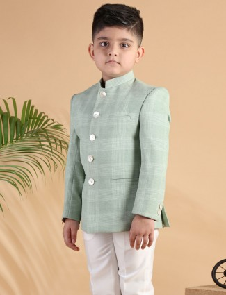 Party wear green checks terry rayon coat suit