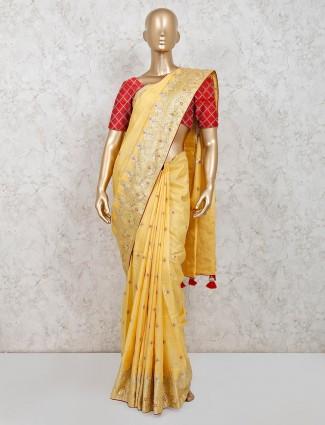 Party wear mustard yellow dola silk saree