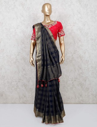 Party wear navy chanderi silk saree with readymade blouse design