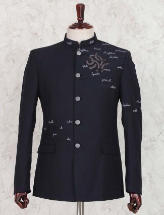 Party wear navy hue jodhpuri suit