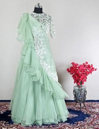 Party wear silk pista green lehenga choli