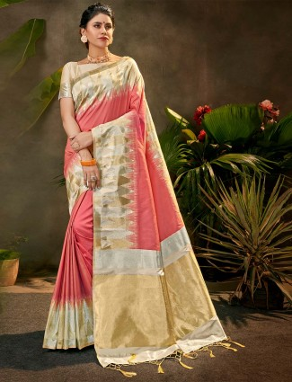 Party wear silk saree in pink colour