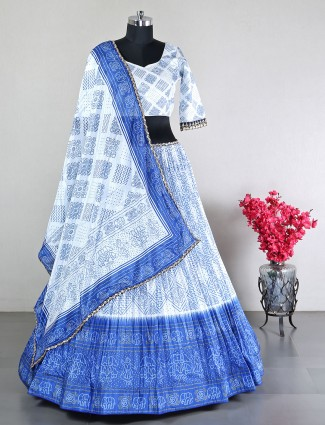 Party wear sky blue silk  lehenga choli