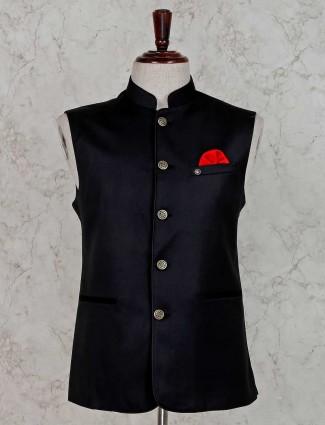 Party wear solid black waistcoat