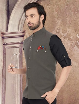 Party wear solid olive cotton waistcoat