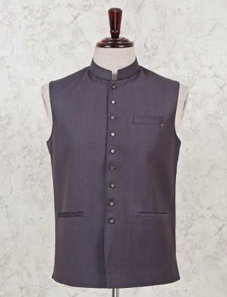 Party wear wine purple solid waistcoat