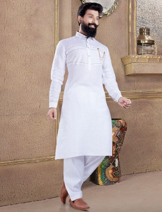 Pathani suit in white color for festive