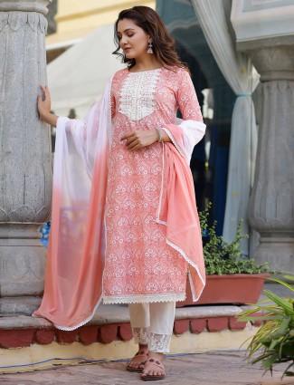 Peach amazing printed punjabi cotton festive ocasions pant suit