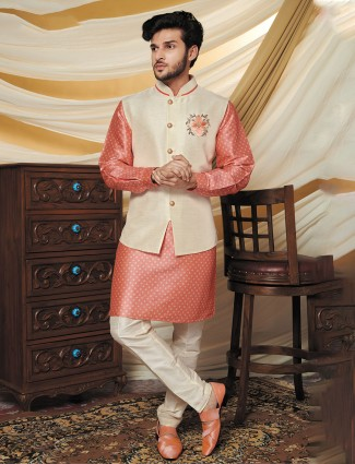 Peach and cream raw silk waistcoat set