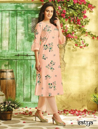 Peach color cotton fabric kurti set