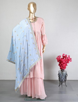 Peach color georgette palazzo suit for weddings