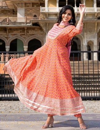 Peach color punjabi style cotton printed festive pant suit