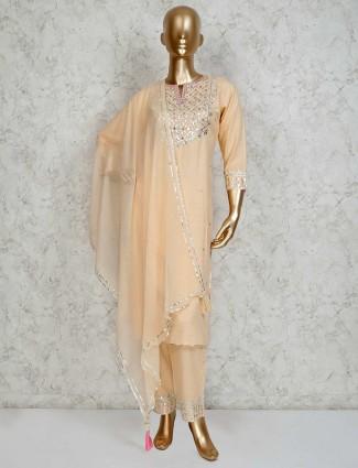 Peach cotton keyhole pant suit