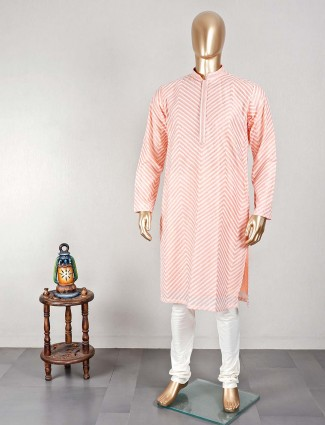 Peach cotton kurta suit for man