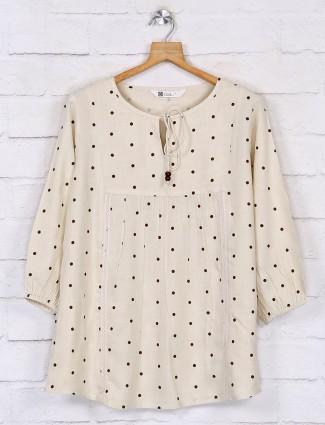 Peach cotton polka dot tops design