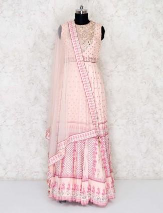 Peach cotton silk floor length anarkali suit