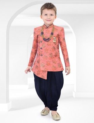 peach cotton silk full sleeves indo western