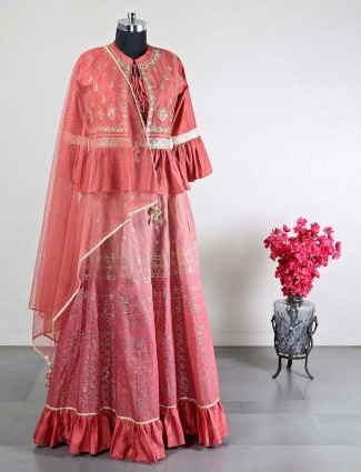 Peach cotton silk lehenga choli for wedding