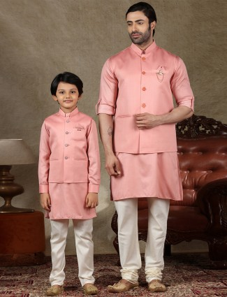 Peach cotton silk waistcoat set special for father and son