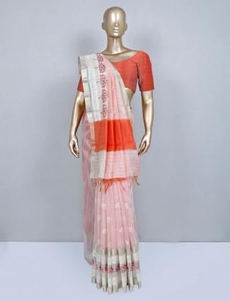 Peach cotton wedding wear saree