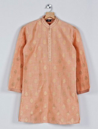Peach designer cotton kurta suit with zari touch