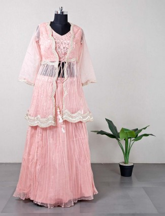 Peach designer reception wear silk lehenga choli