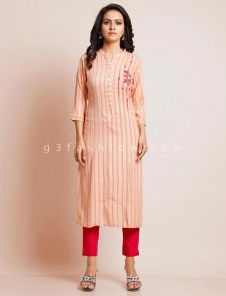 Peach festive wear collar neck kurti-set