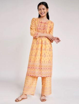 Peach Floral Printed A-Line Suit