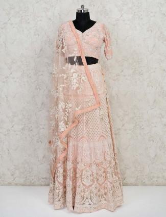 Peach georgette wedding wear designer lehenga choli