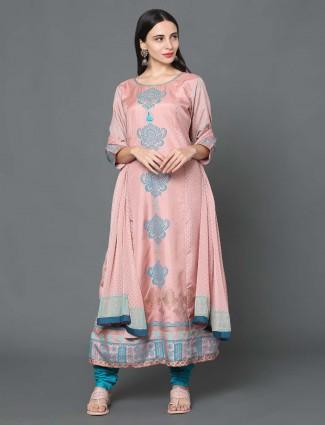 Peach hue chanderi silk festive salwar suit