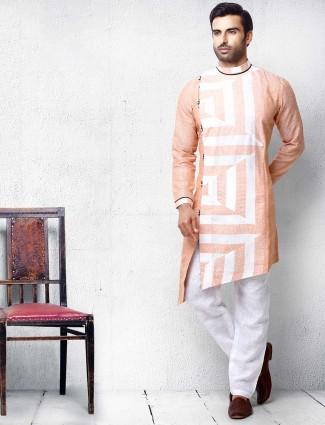 Peach hue cotton mens kurta suit