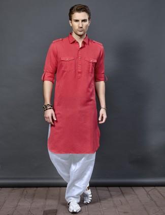 Peach hue festive wear pathani suit
