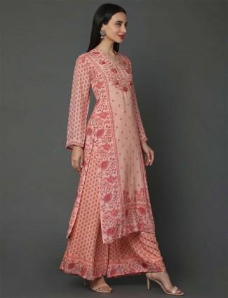Peach hue pure musleen fabric festive palazzo suit