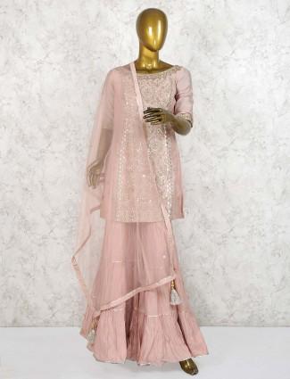 Peach hued cotton silk punjabi sharara suit