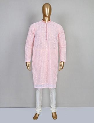 Peach kurta suit in cotton for mens