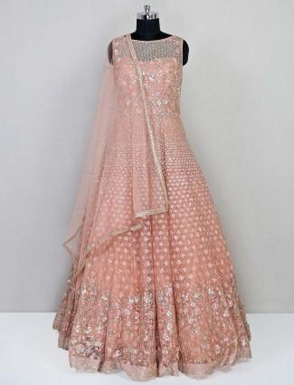 Peach net reception wear gown for women