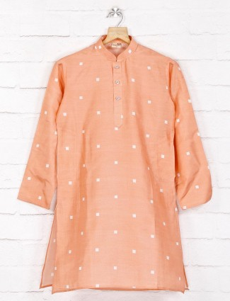 Peach printed cotton festive function kurta