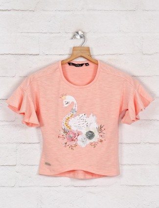 Peach printed cotton top for casual wear