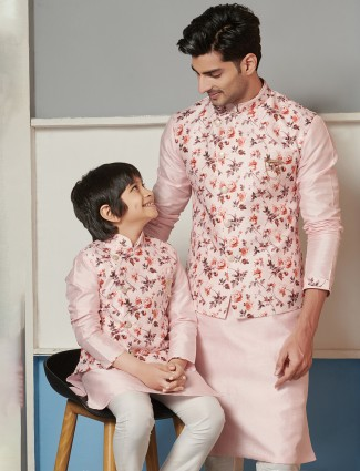 Peach printed father and son waistcoat set in raw silk