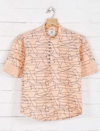 Peach printed full sleeve kurta