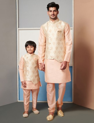 Peach printed raw silk waistcoat set for father and son