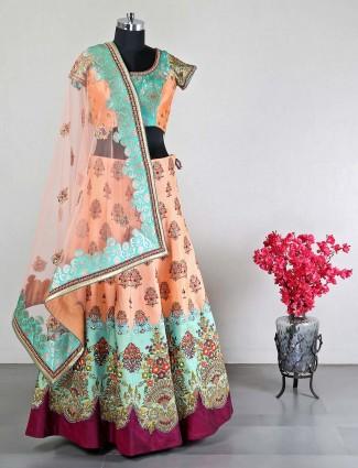 Peach raw silk designer wedding special lehenga choli