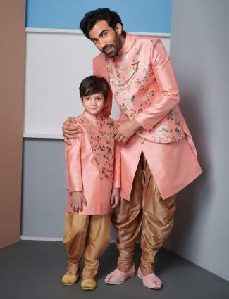 Peach raw silk father and son wedding wear indo western